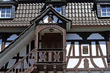 Half timbered building facade and gazebo, Doerrenbach, Naturpark Pfaelzerwald Nature Park, Rhineland-Palatinate, Germany, Europe