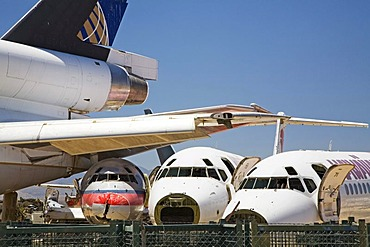 Airliners being dismantled for scrap at the Mojave airport, Mojave, California, USA