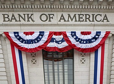 A bank decorated with patriotic bunting for the presidential inauguration of Barack Obama, Washington, DC, USA