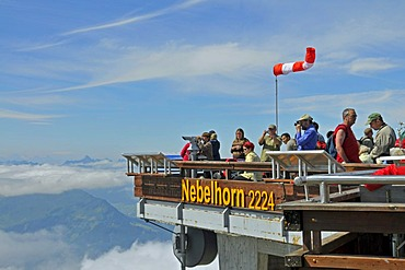 Tourists at the summit station of Nebelhorn Mountain, Allgaeuer Alps, Bavaria, Germany, Europe