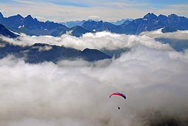 Panorama from Nebelhorn Mountain, Paraglider, Allgaeuer Alps, Bavaria, Germany, Europe