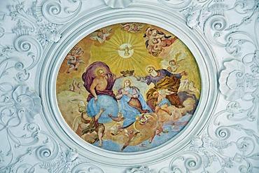 Ceiling fresco, pilgrimage church Maria Schnee, Legau, Allgaeu, Bavaria, Germany, Europe