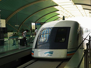 Transrapid, Shanghai Maglev Train, in Pudong Longyang Road Station, Shanghai, China, Asia