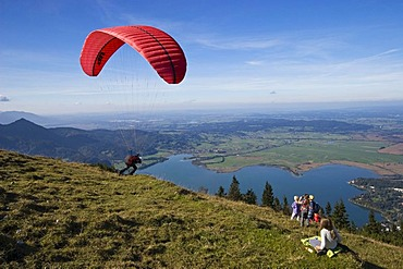 Paraglider, view from Jochberg over the Kochelsee lake, Alps, Upper Bavaria, Bavaria, Germany, Europe