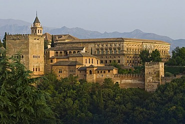 Alhambra as seen from the lookout point at Albayzin, Granada, Spain, Europe