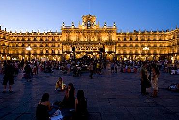 Town Square at sunset, Salamanca, Spain, Europe