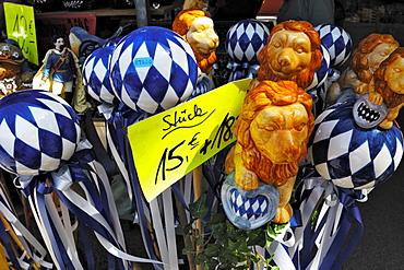 Garden balls, garden decoration, lions, Auer Dult, traditional market in Munich, Bavaria, Germany, Europe