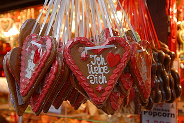 Lebkuchen (a kind of soft gingerbread) heart, traditional Christmastime baking at the children's Christmas market in Nuremberg, Bavaria, Germany, Europe
