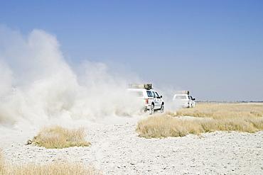Offroad tour over a big salt pan, Sowa Pan, Makgadikgadi pans, Botswana, Africa