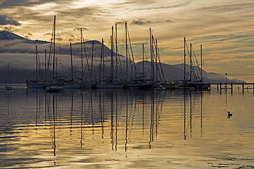 Yacht harbor, Ushuaia, most southerly town of the world, Tierra del Fuego, Argentina, South America