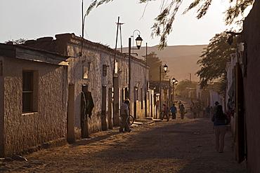 Dusty street at the desert village San Pedro de Atacama, Chile, South America