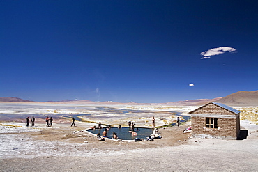 Thermal lake Aguas Termales with a pool, Altiplano, Bolivia, South America