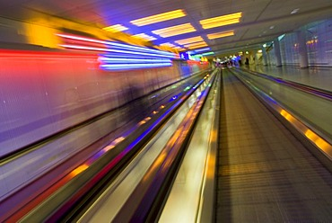 Moving walkway at terminal 1, Munich Airport, Bavaria, Germany, Europe