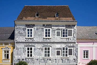 Sgraffito house in Weitra, Waldviertel Region, Lower Austria, Austria