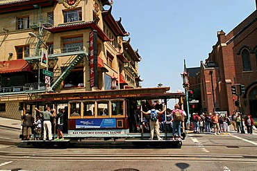 Cable Car in Chinatown, San Francisco, California, North America, USA