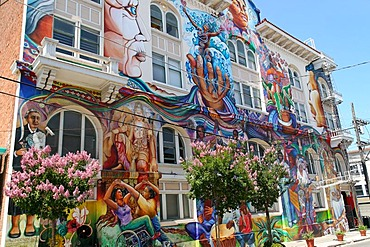 Colorful mural in Mission District, Women's Building, San Francisco, California, North America, USA