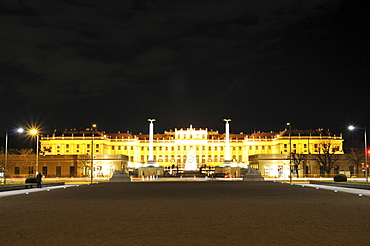 Schoenbrunn castle at night, Vienna, Austria