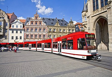 Streetcar on main square in Erfurt, Thuringia, Germany, Europe