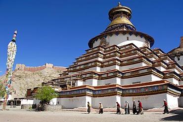 Tibetan pilgrims at kora around Kumbum Pelkor Chode Monastery Gyantse Tibet China
