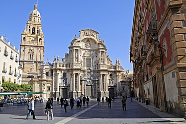 Cathedral, Plaza Cardenal Belluga (Cardinal Belluga Square), Bishop's Palace, Murcia, Spain, Europe