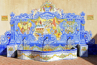 Fountain decorated with tiles, azulejos, Orihuela, Alicante, Spain