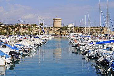 Watchtower and marina, El Campello, Alicante, Costa Blanca, Spain