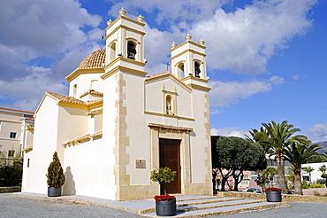 White stone church in Ermita de Sant Rafel, La Nucia, Alicante, Costa Blanca, Spain