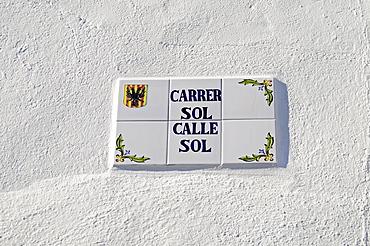 Road sign, Sun Street, Spanish tiles, Altea, Alicante, Costa Blanca, Spain