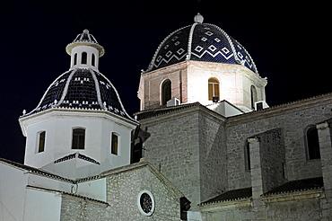Virgen del Consuelo Church at night, Altea, Alicante, Costa Blanca, Spain