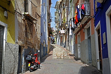 Alley in the historic centre of Vila Joiosa, Villajoyosa, Alicante, Costa Blanca, Spain