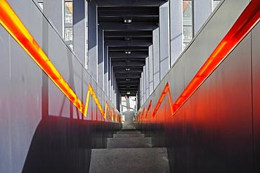 Steep stairs, steps, escalator, Zeche Zollverein, Zollverein Coal Mine Industrial Complex, Essen, North Rhine-Westphalia, Germany, Europe