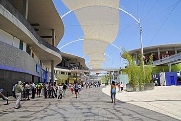 Sunshade outside a pavilion, Expo 2008, World Fair, Zaragoza, Aragon, Spain, Europe