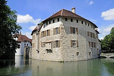 Hallwyl Water Castle with moat, Seengen, Aargau, Switzerland, Europe