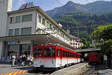 Base station, cog railway, Mount Rigi, Vitznau, Canton of Lucerne, Switzerland, Europe