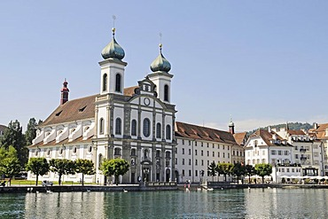 Jesuitenkirche Church, Reuss River, historic district, Lucerne, Switzerland, Europe