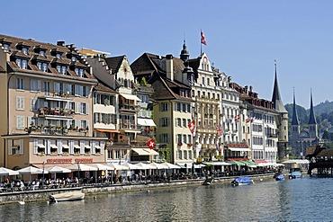 Riverside, restaurants, gastronomy, River Reuss, historic district, Lucerne, Switzerland, Europe