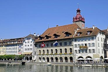 Town Hall, restaurant, gastronomy, Reuss River, historic district, Switzerland, Europe