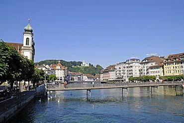 Jesuitenkirche Church, bridges, Reuss River, historic district, Lucerne, Switzerland, Europe