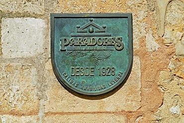 Sign with insignia, Hotel Parador, Alarcon, Cuenca province, Castile-La Mancha, Spain, Europe