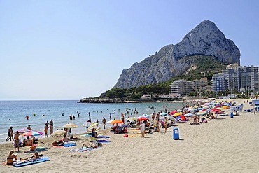 People, Playa La Fossa, beach, mountain, Penon de Ifach, Calpe, Costa Blanca, Alicante, Spain, Europe