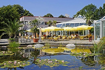 Water-lily pond, orangery, people, catering, Grugapark, Essen, Ruhrgebiet, Ruhr Area, North Rhine-Westphalia, Germany, Europe