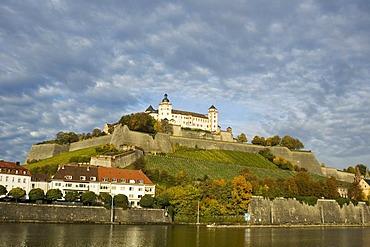 Wuerzburg Wurzburg Franconia Bavaria castle over the river Main Germany