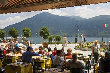 Cannobio at the Lago Maggiore Piedmont Piemonte Italy cafe bars at the promenade