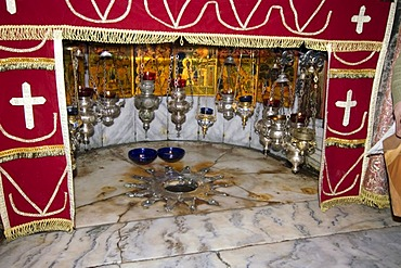 Israel Bethlehem Bet Lehem nativity church grotto where Jesus was born with the star of Bethlehem