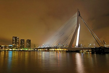 Rotterdam Province Zuid Holland South Holland Netherlands Erasmusbrug Erasmusbridge ewith the river Nieuwe Maas