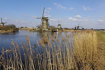 Kinderdijk near Rotterdam South Holland Zuid Holland Netherlands windmills mills at the Overwaard Polder