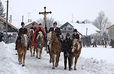 Moerlbach near Icking Stefaniritt Parade for St. Stephan Bavaria germany
