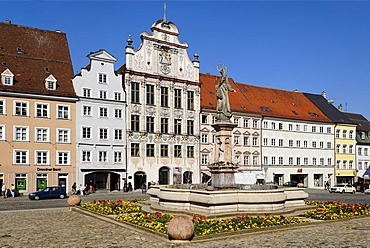 Landsberg upon the river Lech Upper Bavaria Germany Hauptplatz main square with Mary's fountain and the city hall of Dominkus Zimmermann
