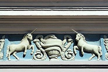 Memmingen Bavarian Swabia Bavaria Germany Einhornapotheke unicorn pharmacy Kramerstrasse