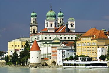Passau Lower Bavaria Germany cathedral St Stephan above the Schaibling tower and the river Inn
